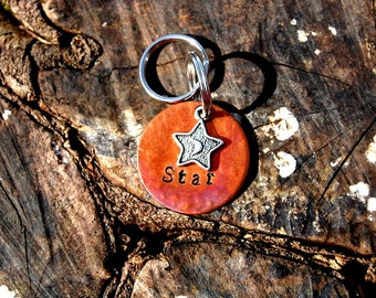 Personalized Hammered Heat Colored Copper Dog ID Tag, Custom Hand Stamped Star Dog ID Tag, Moon Dog ID Tag, Cute Dog Tag, Celestial Dog Tag