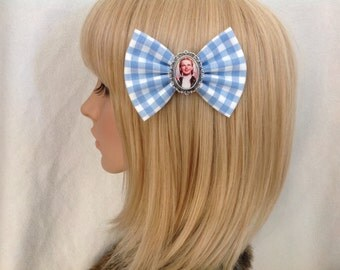 Dorothy Wizard of Oz hair bow clip rockabilly psychobilly pin up fabric blue gingham accessories toto witch ruby slippers girls women