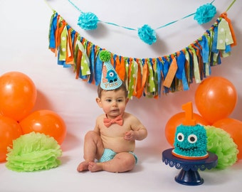 Little Monster Baby Boy Cake Smash Set First Birthday Outfit