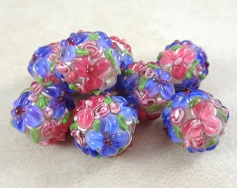 Lampwork Beads - Fuchsia Floral Delight - Fuchsia & Lavender Floral Lamp work - approx. 12mm - Qty. 2