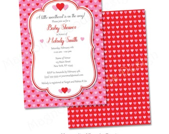 Valentine's Day Baby Shower Invitation, Heart Baby Shower Invitation, Little Sweetheart Baby Shower Invitation - Printable Digital File