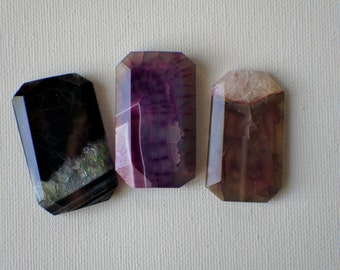 Bead, precious, gemstone, natural, stone, nugget Purple Agate Rectangle Focal Pendant Bead