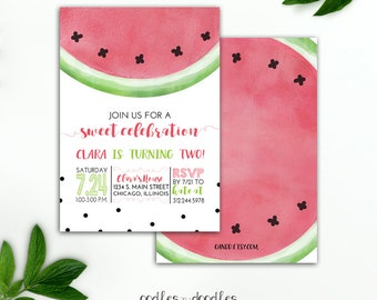 Watermelon Birthday Invitation Girl's Birthday Watermelon Party Summer Birthday Melon Watercolors Pink and Green, Printed or Printable