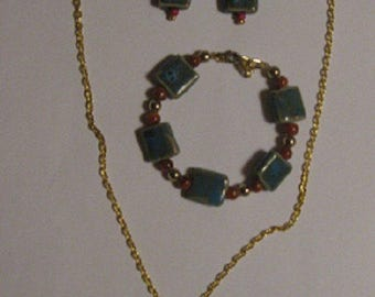 Green Tile Jewelry Set