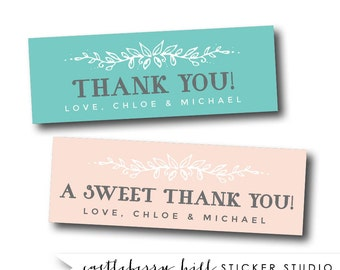 A sweet thank you stickers, small wedding stickers rectangle favor stickers cookie favor stickers candy buffet stickers, candy buffet labels