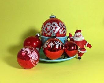 Vintage Christmas Ornament Set, Red, Shiny Brite, Dancing Santa, !950's- 60's
