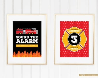 Fire Truck Welcome Signs, Fire Truck Birthday Decor, Firefighter Birthday Party, Boy birthday Decor, Sound The Alarm, Little Hero Party, #56