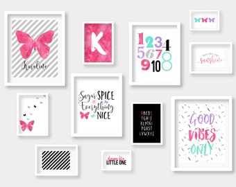 Butterfly Gallery Wall, Girl Room Decor, Watercolor Art, Kid Room Decor, Butterfly Art Print, Handlettering, Teen Room Decor, Digital Prints