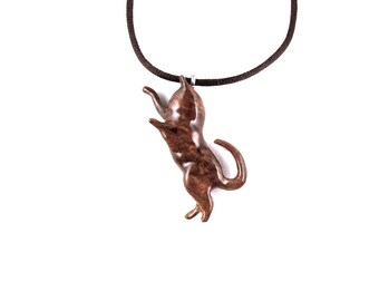 Cat Pendant, Cat Necklace, Cat Jewelry, Wood Cat Pendant, Wood Cat Necklace, Wood Jewelry, Cat Totem Jewelry, Hand Carved Cat Pendant