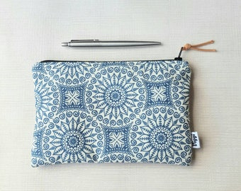 Minimalist Pencil Case, Womens & Mens Zipper Pouch, Blue Boho Mandala Fabric, Pen Bag, Useful Gift for Him and Her