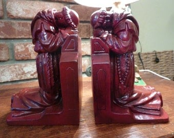 Upcycled Alter Boy Praying Priest Kneeling Spiritual Religious Bookends