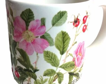 Large Coffee Mug With Wild Roses, Ceramic Coffee Cup, Large Mug, Floral Mug, Gift For Her, Gift For Mom
