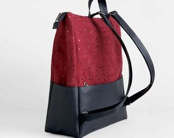 Red Vegan Leather Backpack - Printed faux suede vegan bag - Minimal black faux leather travel rucksack, laptop backpack, Graduation Gift