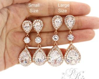 Wedding Earrings Rose Gold plated Teardrop Zirconia Earrings Wedding Jewelry Bridal Earrings Wedding Accessory Bridesmaid Earrings