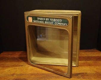 Antique Nabisco Store Counter Display / 1923 / Glass and Tin / National Biscuit Company General Store Display