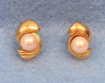 Pearl Earrings Monet Gold Pearl Earrings Post Earrings Faux Pearl Jewelry