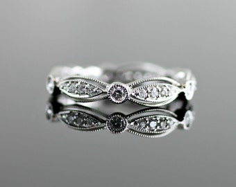 Stackable Vintage Scalloped Diamond Eternity Band