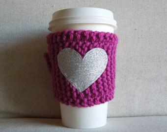 Pink Coffee Cozy with Silver Glitter Heart, Mug Sweater, Coffee Cozy, Coffee Sleeve, Mug Cozy