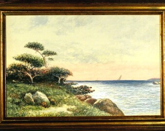 Rare ca.1920 Listed Artist Sailing Boats Seascape Watercolor Painting w/Frame