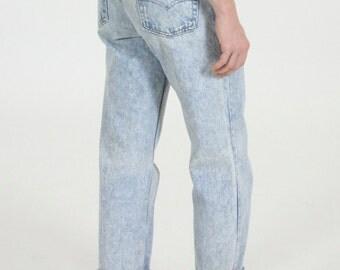 Vintage Levi's 505 Acid Wash High Waisted Blue Jeans 31 x 34