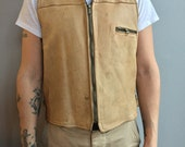 Uber Owatonna Minnesota Cream Leather Vest with Black Sherpa Liner.