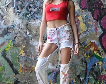 Painted Distressed Jeans