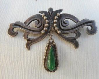 Turquoise Vintage Sterling Silver Brooch Pin Taxco Maricela 950