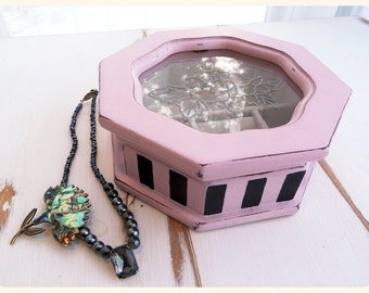 Upcycled vintage wood jewelry box, hand painted, pink and black, burlesque