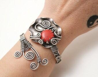 Silver Cuff Bracelet, Womens Bracelet, Coral Cuff Bracelet, Open Bracelet, Stone Bracelet, Wire Wrapped Bracelet, Unique Gifts For Women