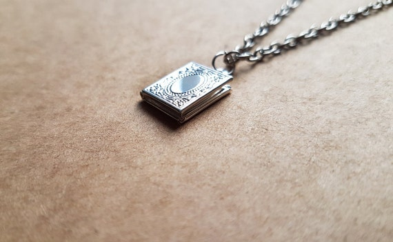Tiny book locket pendant secret message locket quote like this item aloadofball Gallery