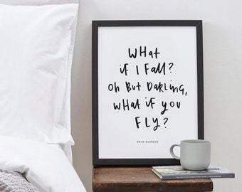 What If I Fall Quote Print - Erin Hanson's Quote Typography Print