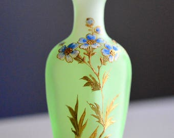 Miniature Vase Frosted Green Hand Painted Forget Me Nots