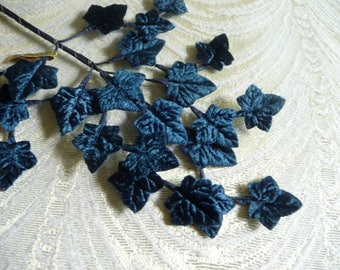 Vintage Navy Blue Velvet Leaves  Millinery Ivy Spray of 24  from Japan NOS for Hats Crafts Costumes