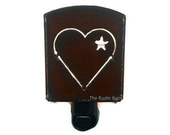 RUSTIC HEART  with star Nightlight night light made of Rustic Rusty Rusted Recycled Metal