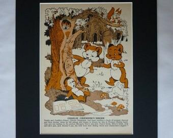 1960s Vintage Children's Print, Available Framed, Nursery Art, Charlie Chipmunk Decor, Nursery Rhyme Gift, Kids Illustration, Puzzle Picture