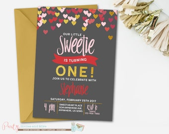 Heart Birthday Invitation, Hearts Invitation, Valentine Invitation, Valentines Day Invitation, Sweetheart Invitation, Sweetie Invitation,