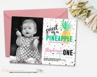 Pineapple Birthday Invitation, Pineapple Invitation, Sweet as a Pineapple Invitation, Luau Birthday Invitation, Luau Invitation, Pineapples