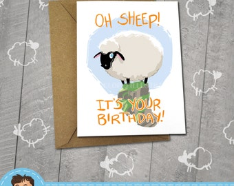 Sheep, I Love You Card,  Cute Animals, Approximately 5 x 7 Blank Card, Kraft Envelope, Black Sheep, Happy Birthday, Valentine's Day Card