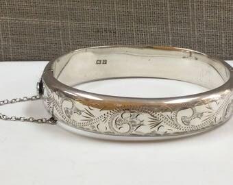 Vintage Engraved Sterling Silver Hinged Bangle Bracelet By RPH,