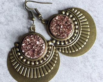 Art Deco Druzy Earrings - Blush Pink Glitter Cabochons, Peach, Sparkles, Antique Bronze Charms, French Hooks, Unique, Pastel, Dusty Rose
