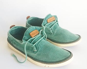 Vintage Timberland shoes, green summer shoes, women canvas sneakers, trainers, walking shoes, EU38, 7.5