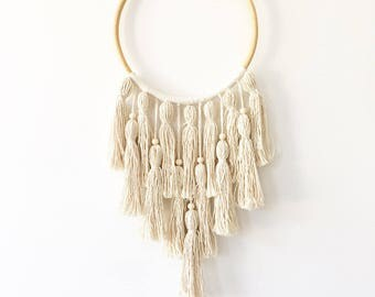 Neutral dreamcatcher, tassel wall hanging, white dreamcatcher, boho wall hanging, bohemian mobile, large dream catcher, boho nursery decor