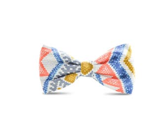 Venice Coral Tribal Pet Bow Tie - Detachable Dog or Cat Collar Bow Tie - Aztec Mayan Tribal Bow Tie Wedding Occasional Wear Bow