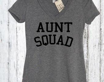 Aunt Squad V Neck Shirt, Gift, Pregnancy announcement, Family, Auntie shirt, Aunt shirt, Proud Aunt, New Aunt, Auntie, Best Aunt, Reveal