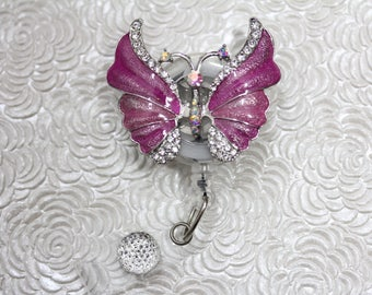 exquisite butterfly - badge holder - badge reel - rhinestone - retractable - name badge holder - badge clip - nurse jewelry