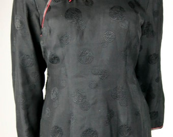 SHANGHAI 100% Silk Black With Red Fully Quilted/Padded Women's Jacket - Marked Size XL - Excellent Condition