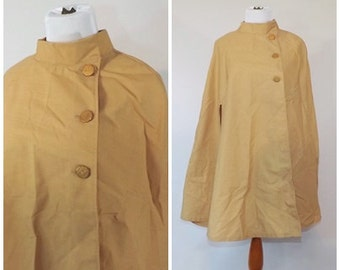 Vintage 1960s 70s Golden Yellow Cape Spring Walking Cloak Rain Jacket Capelet Formal Overcoat Mad Men Light Jacket Goldenrod Coat Liner