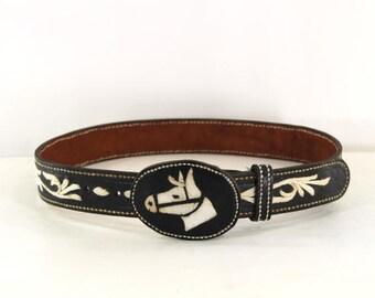 black leather horse belt • embroidered horse belt • equestrian belt • black & white belt • wide leather belt • boho leather belt M
