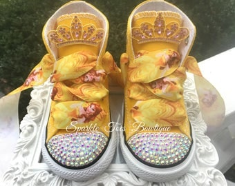 BELLE SHOES - Beauty and the Beast - Belle Costume - Belle birthday outfit - Princess Birthday - Bling Converse - Infant/Toddler/Youth
