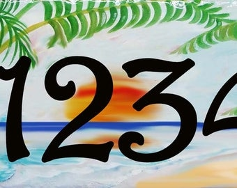 Palm tree beach ceramic house number plaque, Hand Painted porcelain door address sign, Housewarming gift, Hand painted custom sign, Outdoors